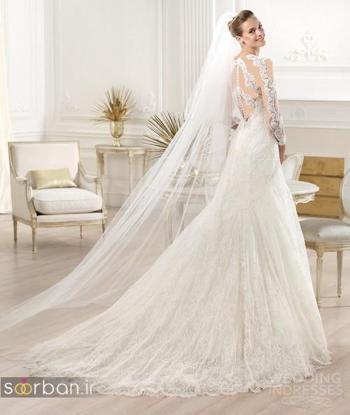 لباس عروس با تور دانتل دنباله دار 2017