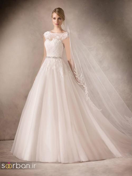 لباس عروس با تور دانتل شیک و زیبا دامن پفی با کمربند
