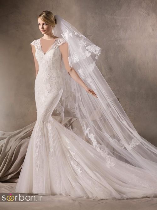لباس عروس با تور دانتل شیک و جدید