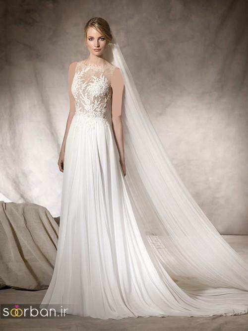 عکس مدل لباس عروس با تور دانتل جین دار و بالاتنه گیپور