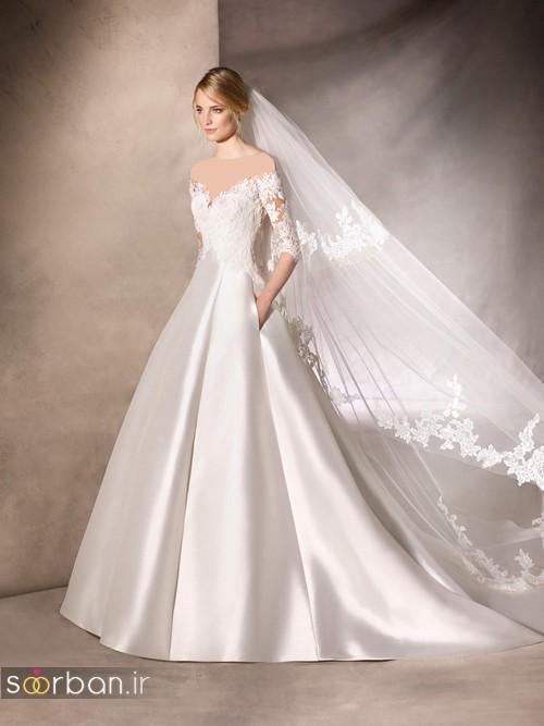 عکس لباس عروس جدید دنباله دار از جنس ساتن