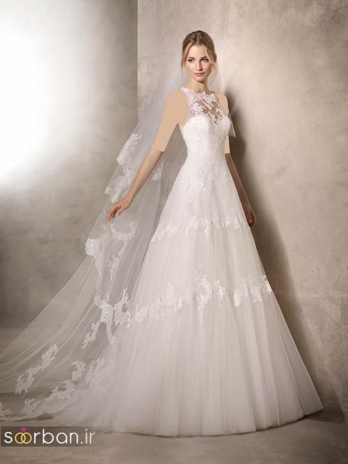 لباس عروس با تور دانتل و شیک و تور رنگ بدن