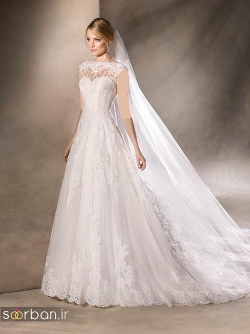 لباس عروس با تور دانتل شیک