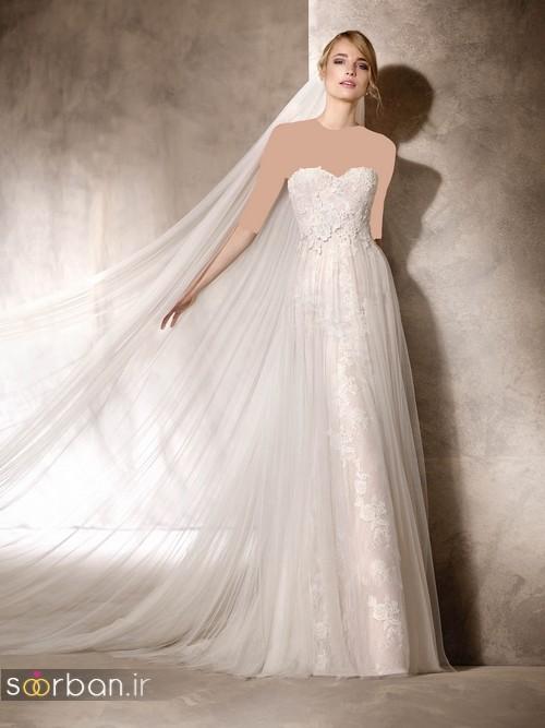 لباس عروس با تور دانتل طرح دار