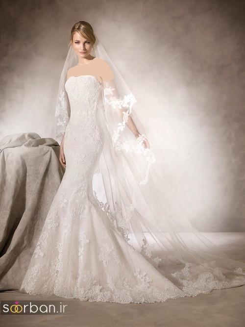 لباس عروس با تور دانتل بالای سر و مدل ماهی