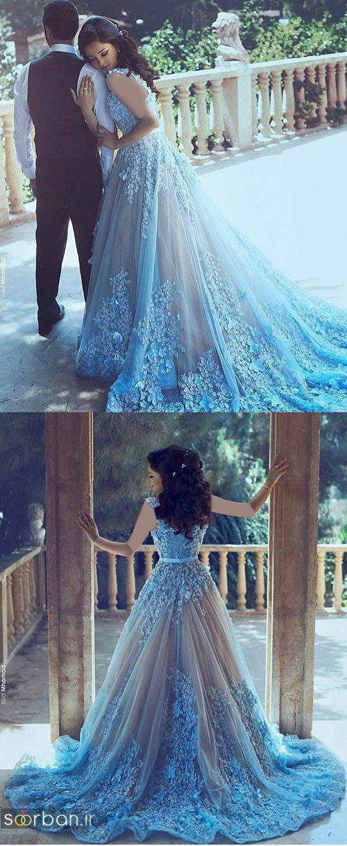 لباس عروس آبی دنباله دار جدید و بسیار زیبا