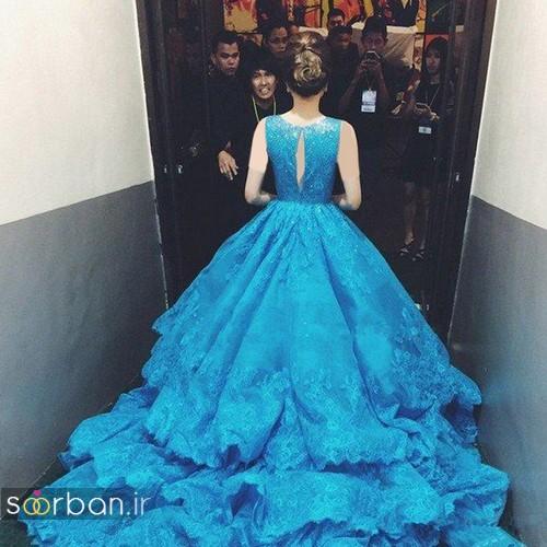 لباس عروس آبی گیپور چند لایه  دامن پفی دنباله دار