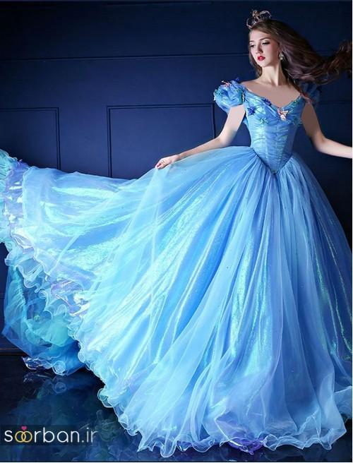 لباس عروس آبی چین دار