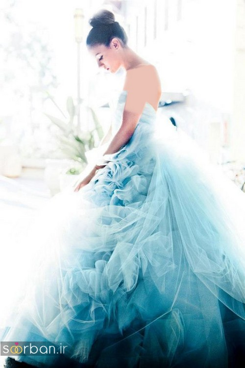 لباس عروس آبی پفی توری و دکلته