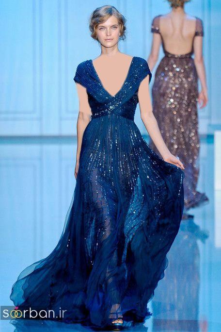 لباس عروس آبی با کمربند پاپیون