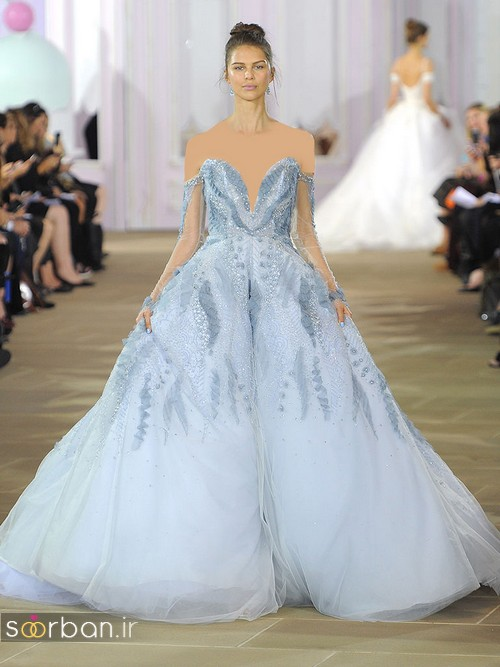 لباس عروس آبی دکلته پفی