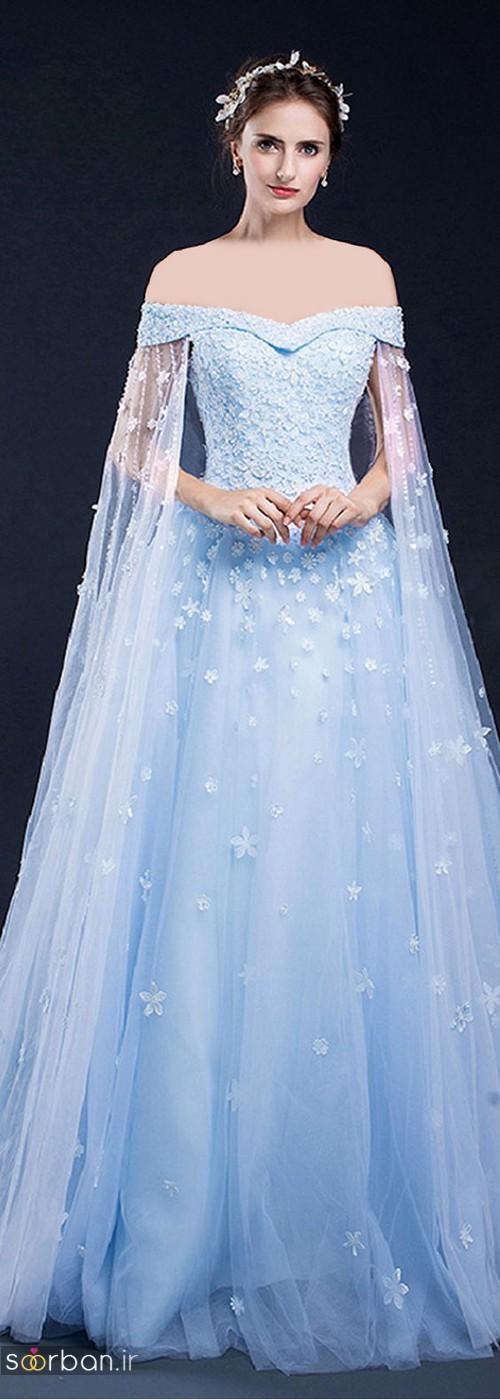لباس عروس آبی یقه باز با تور