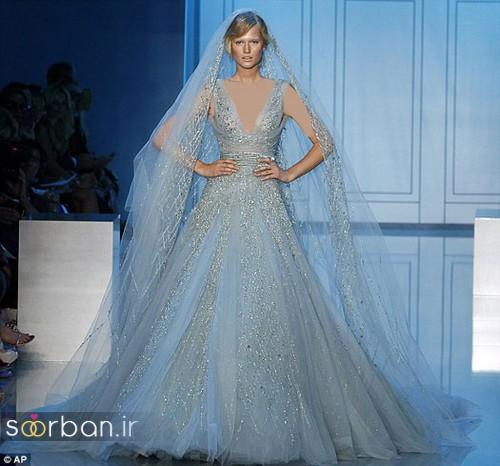 لباس عروس آبی با تور