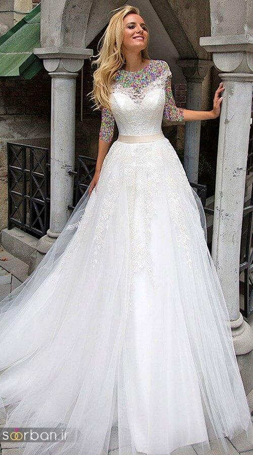 لباس عروس مدل آستین سه لباس عروسی با دامن توری