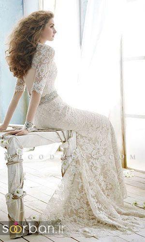 لباس عروس استین سه ربع لباس عروس گیپور خاص و بسیار شیک 2017