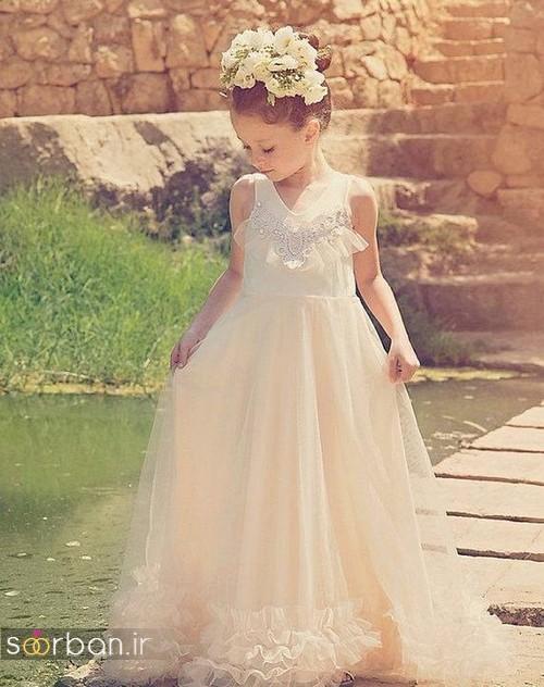 عکس مدل لباس عروس بچگانه 2020 شیک و مدرن دنباله دار