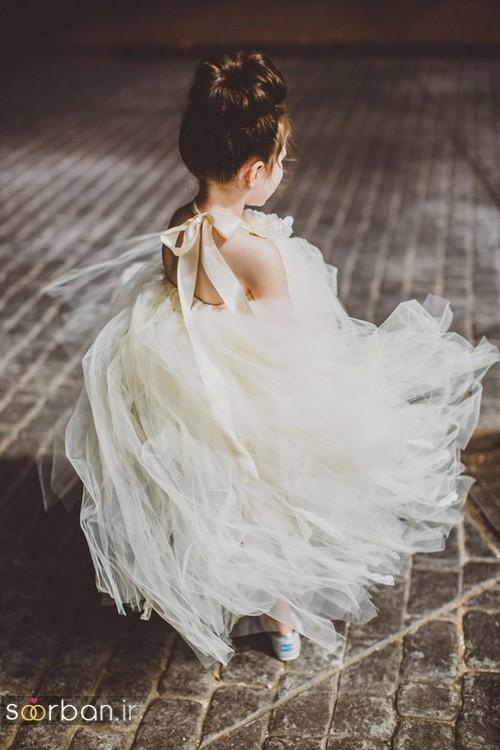 لباس عروس بچگانه 2020 شیک و شیک و زیبا  چین دار با تور