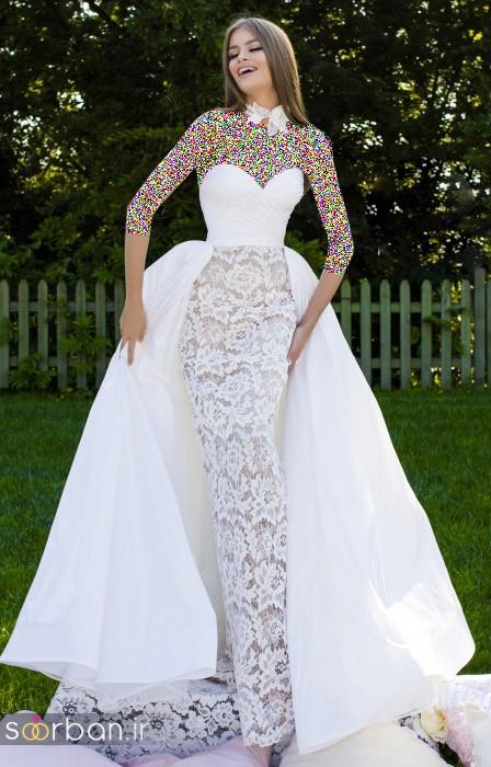 مدل لباس مجلسی بلند سفید با بالاتنه گیپور 2018