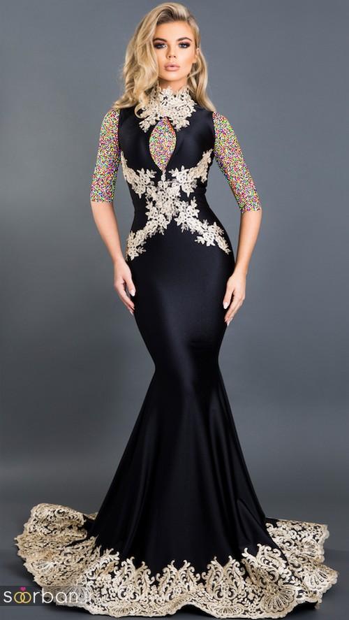 مدل لباس مجلسی بلند مشکی5