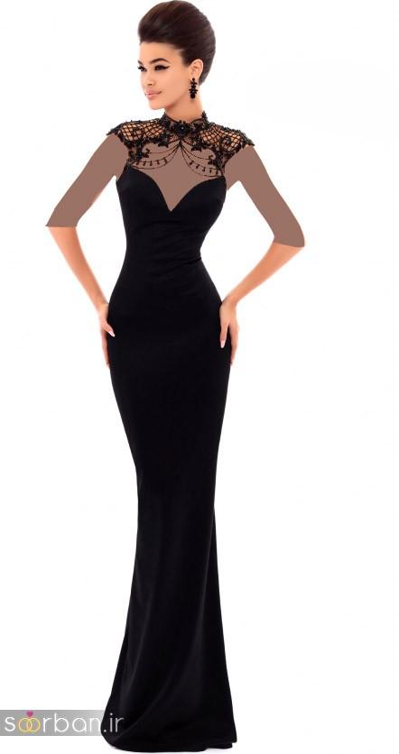 مدل لباس مجلسی بلند مشکی16