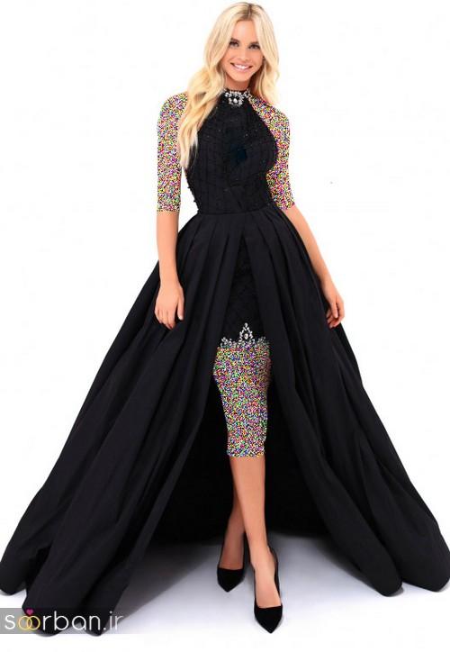 مدل لباس مجلسی بلند مشکی17