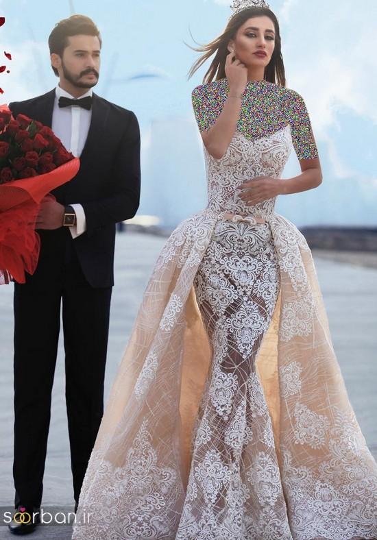 جدیدترین مدل های لباس نامزدی کوتاه حریر و دانتل-20