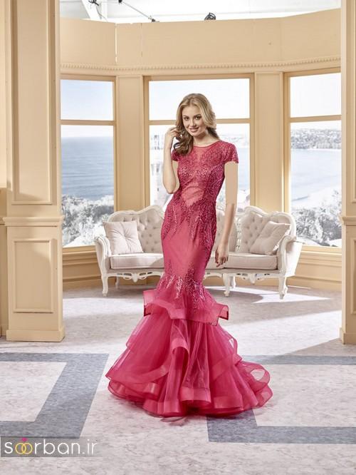 لباس نامزدی شیک و جدید 2018- لباس نامزدی قرمز مدل ماهی