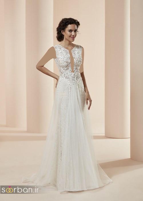 مدل لباس نامزدی سفید با بالاتنه گیپور 2018