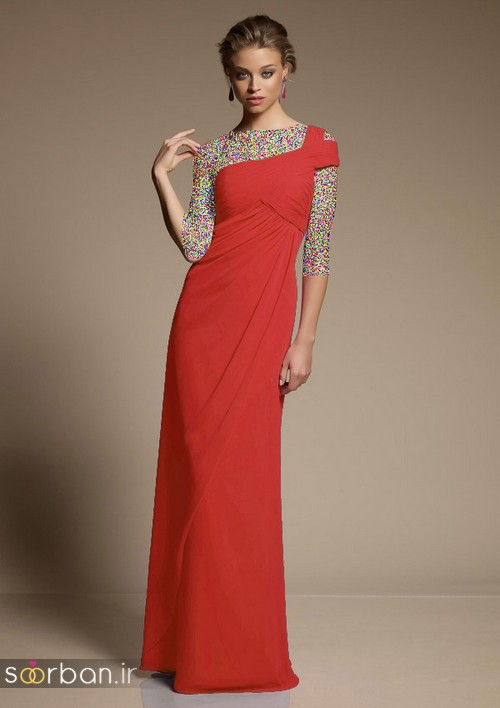 لباس زنانه ساقدوش عروس بلند قرمز