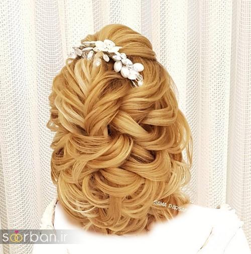 مدل شینیون موی باز و بسته عروس 2018 شیک 1