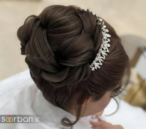 مدل شینیون موی باز و بسته عروس 2018 شیک