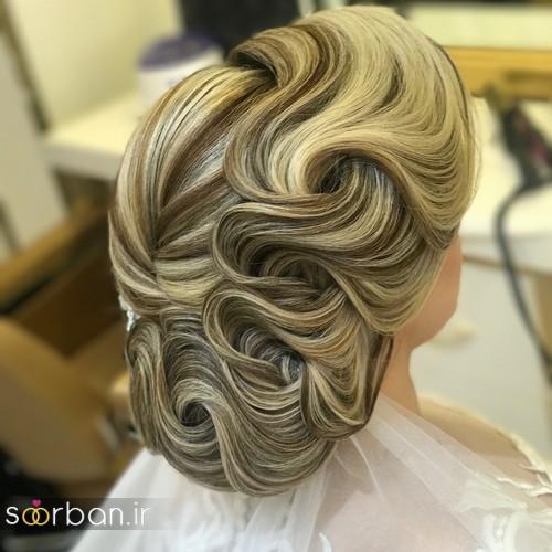 مدل شینیون موی باز و بسته عروس 2018 شیک 4