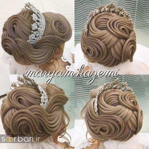 مدل شینیون موی باز و بسته عروس 2018 شیک 16