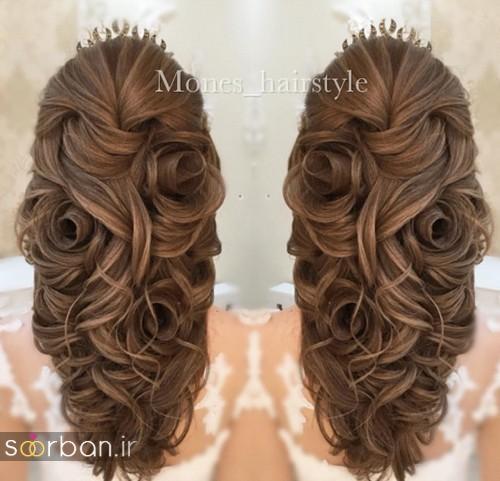 مدل شینیون موی باز و بسته عروس 2018 شیک 17