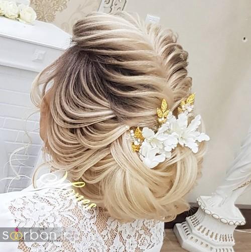 مدل شینیون موی باز و بسته عروس 2018 شیک 18