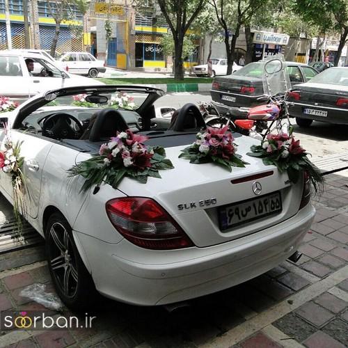 تزیین ماشین عروس لوکس | گل آرایی ماشین عروس 98