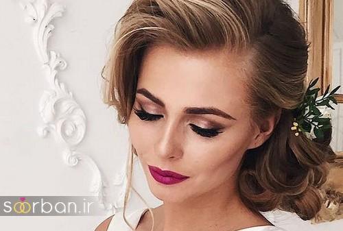 مدل آرایش میکاپ و مدل مو عروسمدل آرایش میکاپ و مدل مو عروس جدید شیک و جدید یقه باز