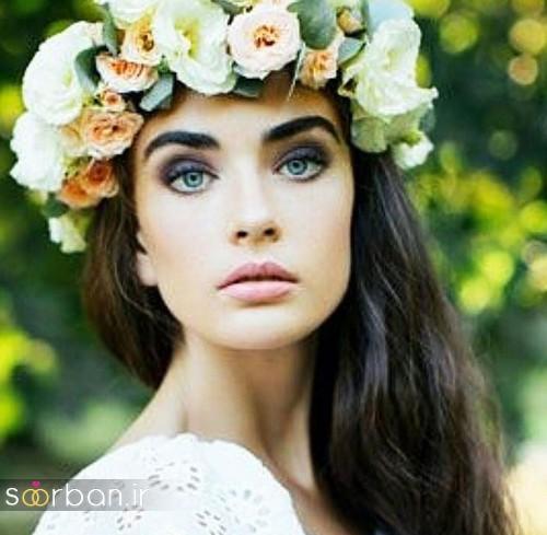 مدل آرایش میکاپ و مدل مو عروس جدید با تاج گل