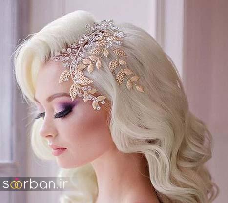 عکس مدل مو باز عروس زیبا 2017 با موهای بلوند و ریسه های تزیینی