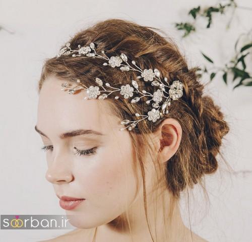 مدل مو بسته عروس زیبا 2017 با ریسه های تزیینی