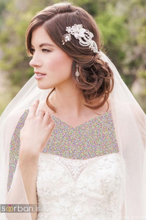 مدل مو عروس با تور شیک جدید