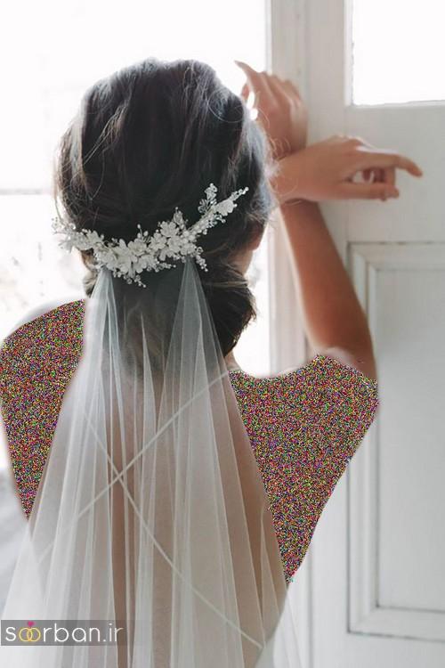 مدل مو عروس با تور شیک جدید زیبا