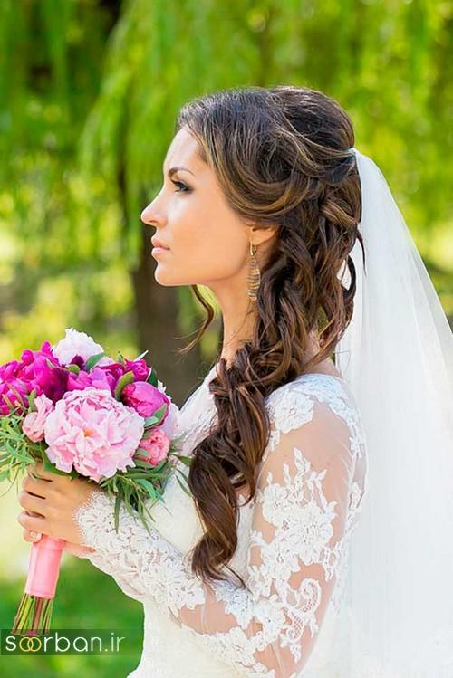 مدل مو عروس با تور شیک و جدید