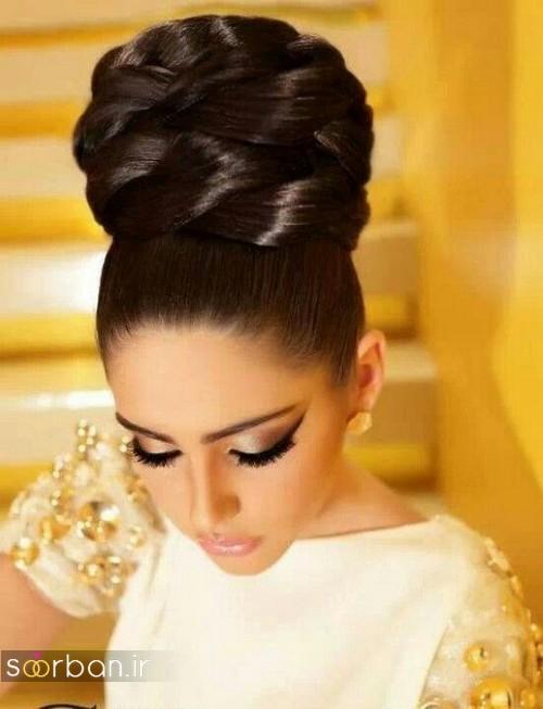 مدل مو عروس مشکی جدید 2020 با شینیون بافت