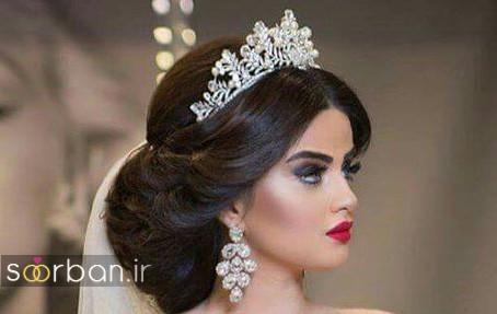 عکس مدل مدل مو عروس مشکی با تاج عروسی و فرق وسط