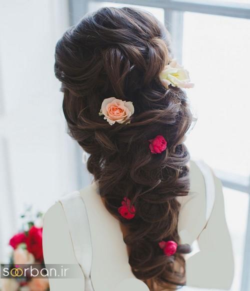 مدل مو عروس مشکی جدید 2020 با گل رز قرمز باز و بسته