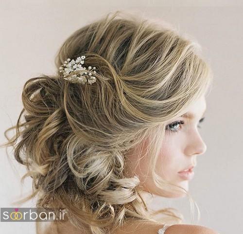 آرایش مدل مو کوتاه عروس با ریسه 2017