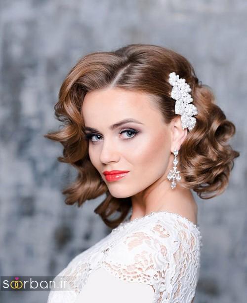 آرایش مدل مو کوتاه عروس با گیره