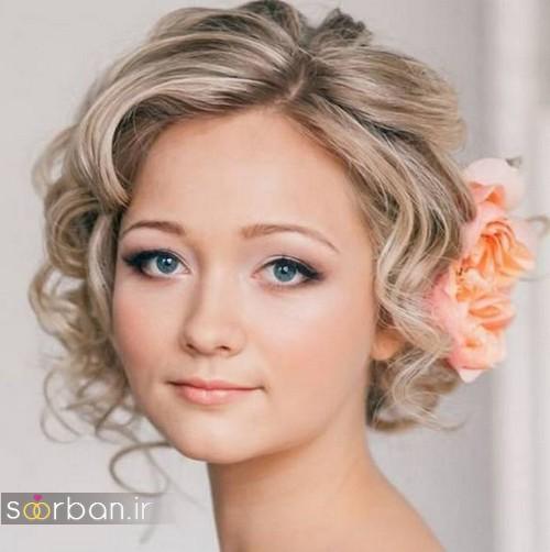 مدل مو کوتاه عروسبرای مو روشن و بلوند
