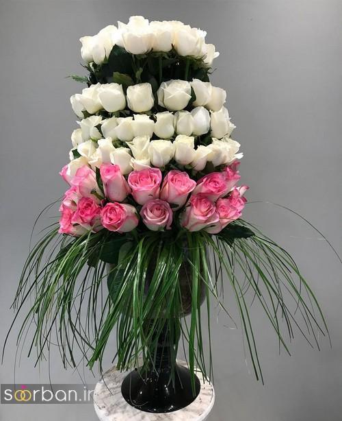 سبد گل خواستگاری با رز سفید و صورتی